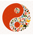 Chinese New Year of the Snake yin yang vector image