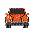 color crayon stripe cartoon front view car vehicle vector image vector image