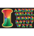 Colorful rainbow alphabet with golden frame lette vector image