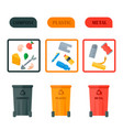 different recycling garbage waste icons vector image