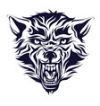 emblem logo tattoo head of a wolf vector image vector image