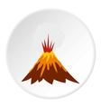 Eruption of volcano icon flat style vector image vector image