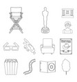 films and cinema outline icons in set collection vector image vector image