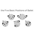 five basic positions ballet vector image vector image