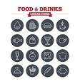 Food and Drinks linear icons set Thin outline vector image vector image