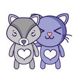 fox and cat cute animal friends vector image