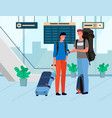 friends travelers with baggage in airport vector image vector image