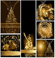 Gold Merry Christmas background collections vector image