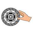 hand with clutch plate auto spare part vector image vector image