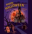 happy halloween pumpkin in the cemetery an vector image vector image