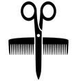 icon with scissors and comb vector image