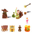 isolated object wild and west sign set wild vector image vector image