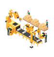 isometric electronic factory with conveyor vector image vector image