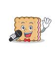 karaoke biscuit cartoon character style vector image