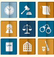 Law judge icon set justice sign vector image