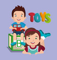 little boy and girl playing with toys characters vector image vector image