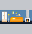 living room with furniture and fire place vector image vector image