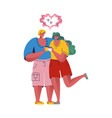 loving couple is drinking coffee man and woman vector image vector image