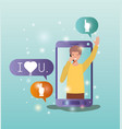 man in smartphone with social media bubbles vector image