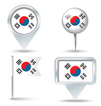 Map pins with flag of South Korea vector image