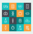 medicine icons set in line style vector image vector image