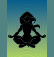 meditating woman background silhouette vector image