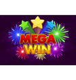 mega big win banner for lottery or casino vector image vector image