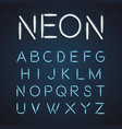 neon font city text night alphabet vector image vector image