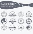 perfect set barber and haircut logos vector image vector image