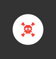 pixel skull and crossbones icon vector image vector image