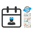 Police Day Flat Icon with 2017 Year Bonus vector image