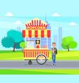 popcorn kiosk in city park vector image vector image