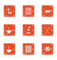 post war assistance icons set grunge style vector image vector image