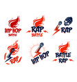 rap music logos or emblems set with microphone in vector image