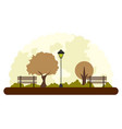 retro landscape of a park in autumn vector image