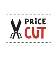 Scissors and Price cut logo vector image vector image