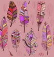 seamless pattern with colorful feathers vector image