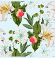 seamless pattern with red peony bud lilies flower vector image vector image