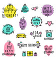 set birthday lettering vector image vector image