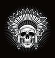 skull native american indian warrior vector image