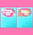 spring sale advertisement labels branch of sakura vector image