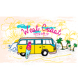 Surfing van at the beach vector image vector image