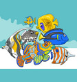tropical fish sea life animal characters group vector image