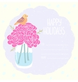 vase flowers greeting card vector image