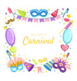 welcome to carnival banner template celebration vector image vector image