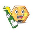 with beer hexagon mascot cartoon style vector image vector image
