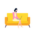 woman working with laptop and gadget freelance vector image vector image