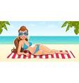 Beautiful girl on beach vector image
