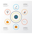 trade flat icons set collection of chatting vector image