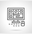 a computer tomography monitor line icon vector image